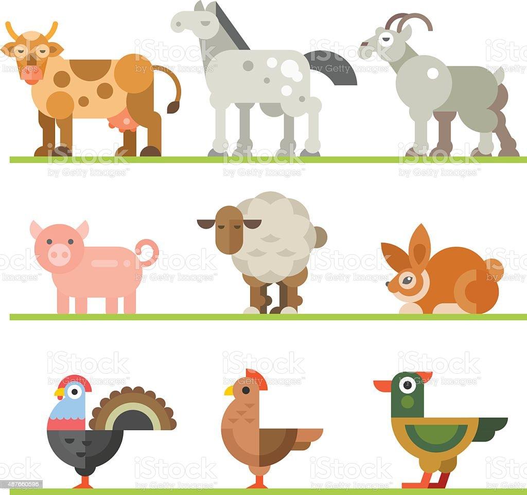 Farm animals for food vector art illustration