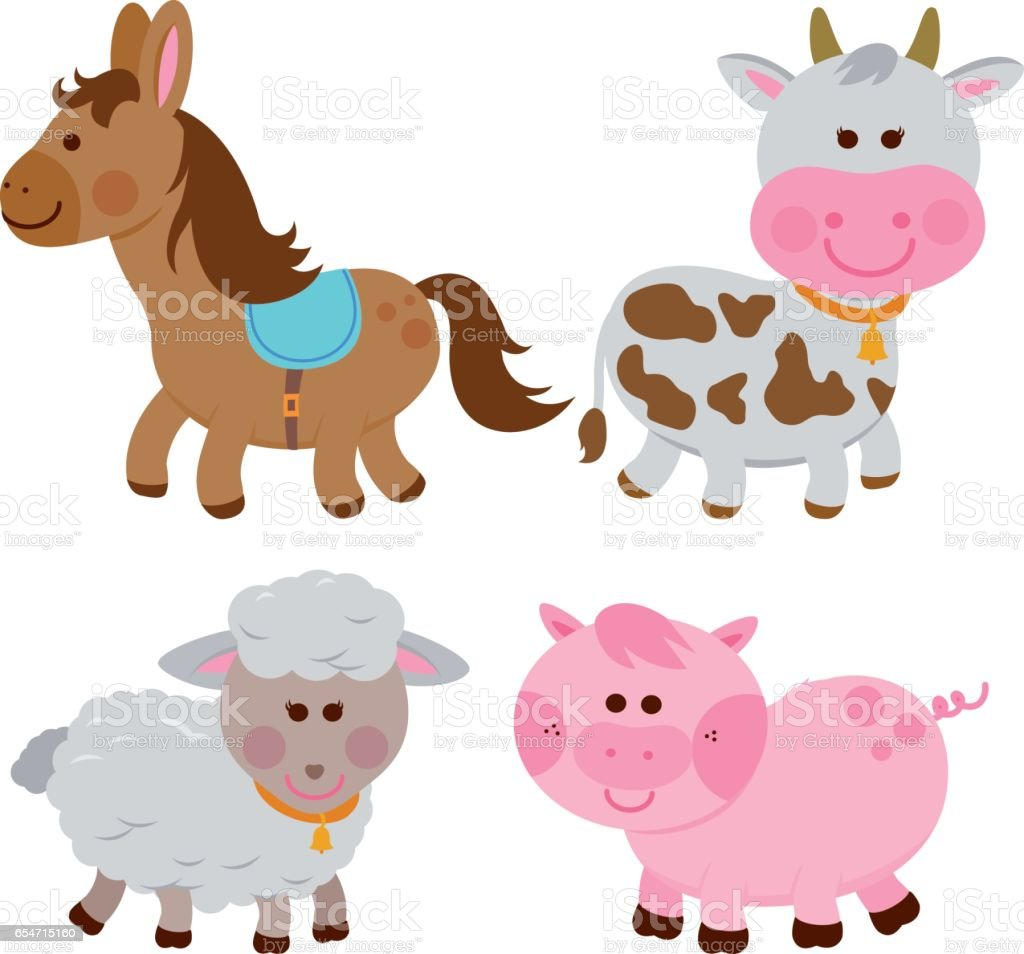 Vector illustration collection of farm animals on white background:...