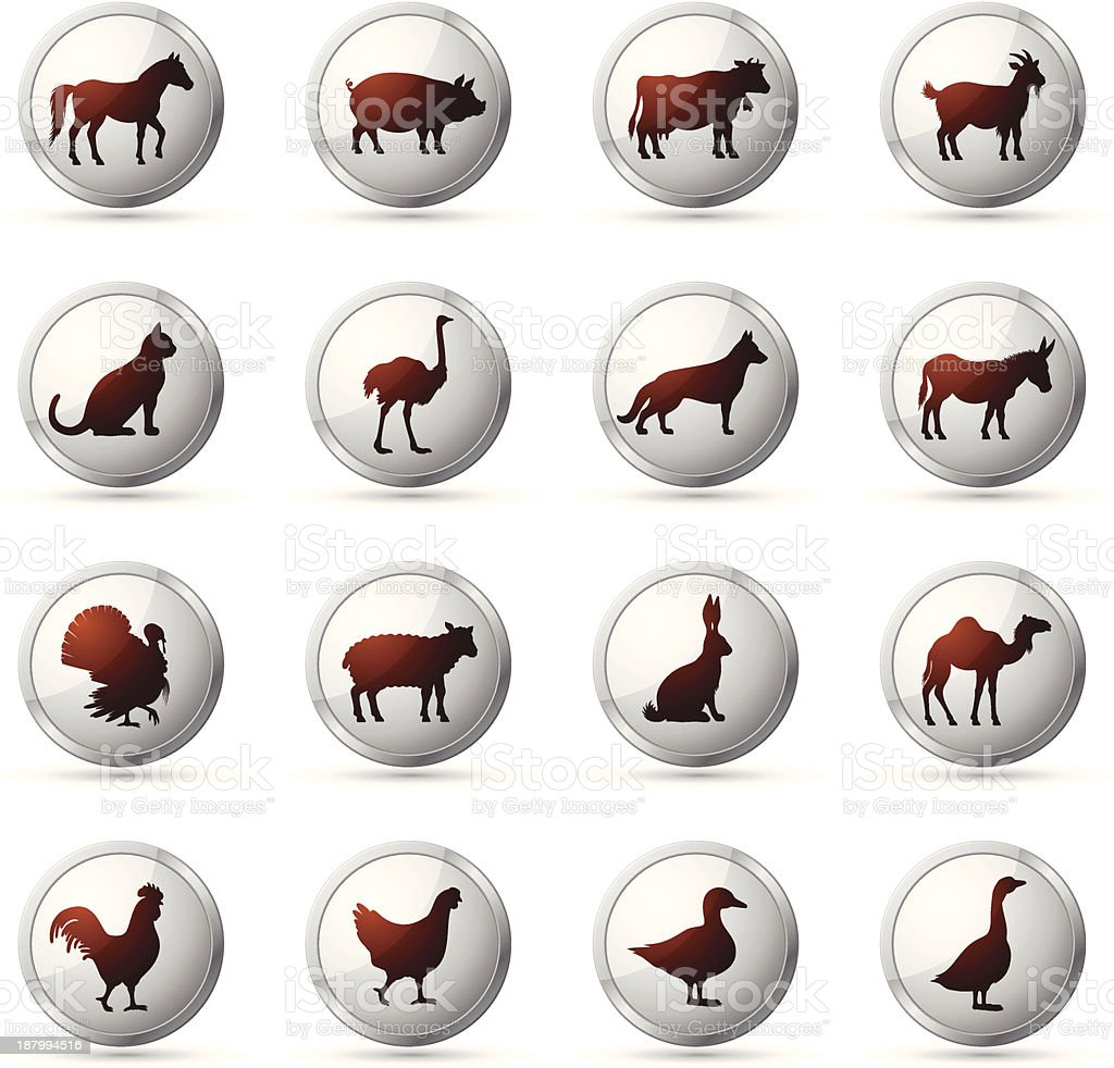 Farm Animals Icon Set royalty-free stock vector art