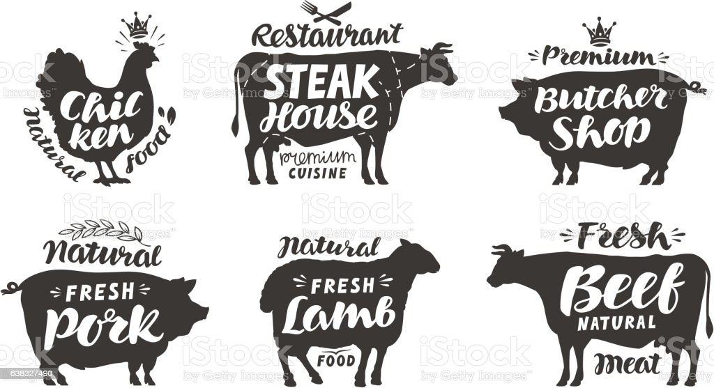 Farm animals icons set. Collection of labels with beautiful letterings vector art illustration