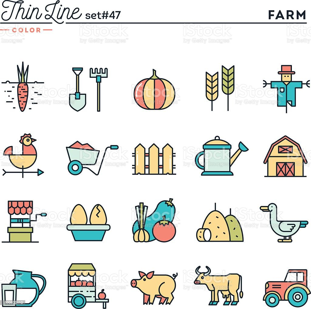 Farm, animals, land, food production and more vector art illustration