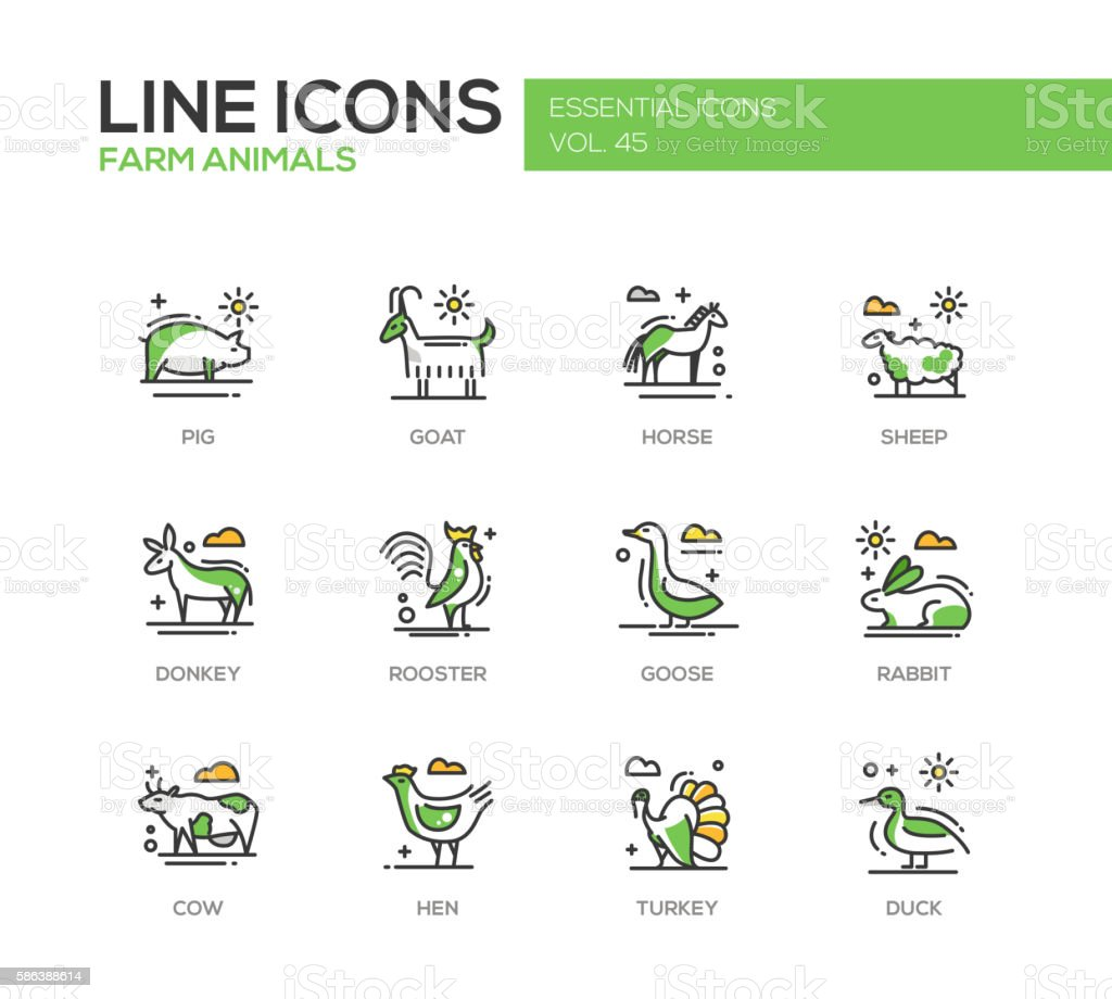 Farm animals - line design icons set vector art illustration