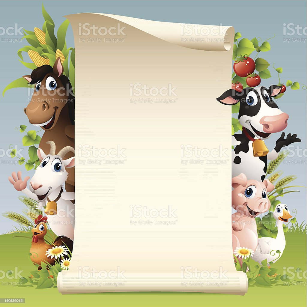 Farm Animals - scroll royalty-free stock vector art