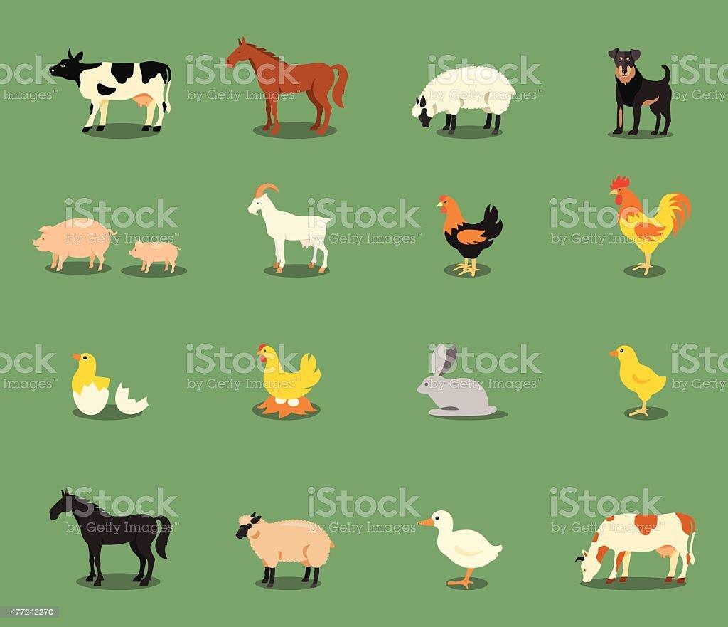 Farm animals set in flat vector style vector art illustration