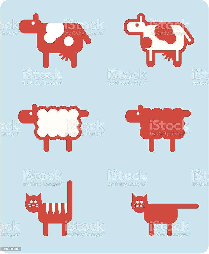 farm animals (vector) vector art illustration