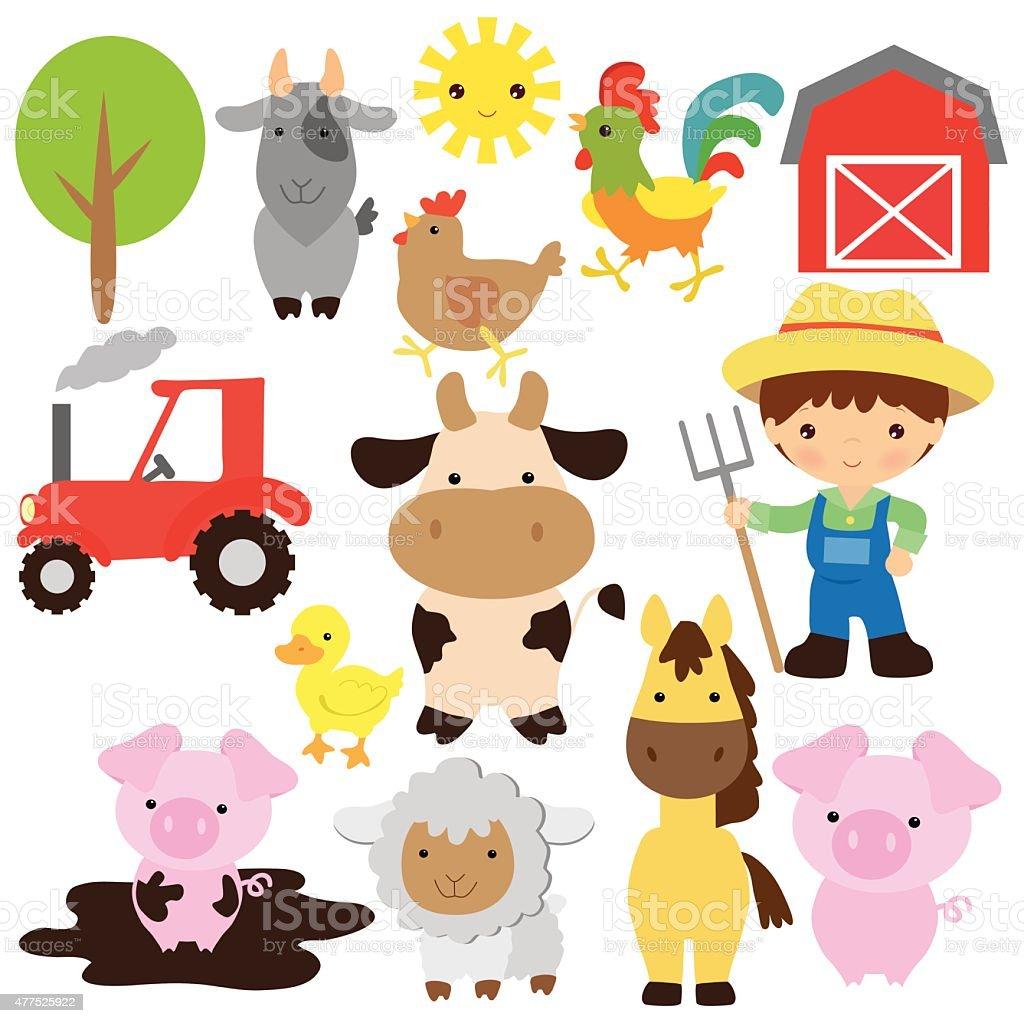 Farm animals vector illustration vector art illustration
