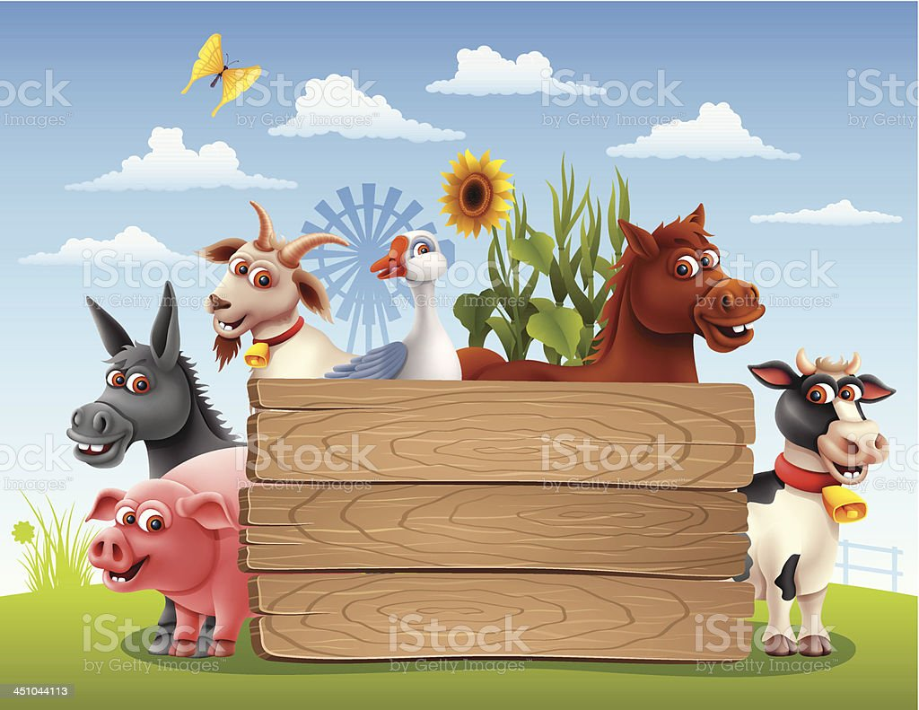 Farm Animals with Banner vector art illustration