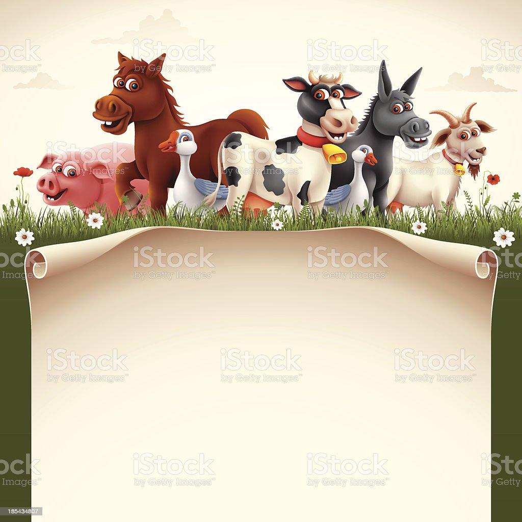 Farm Animals with Scroll vector art illustration