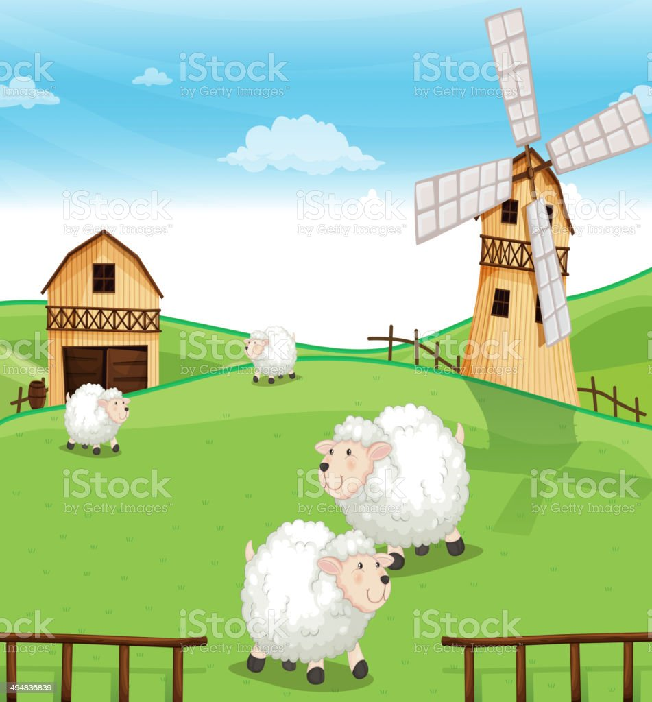 Farm at the hills with sheeps vector art illustration