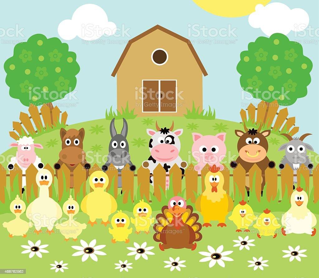 Farm background with animals vector art illustration