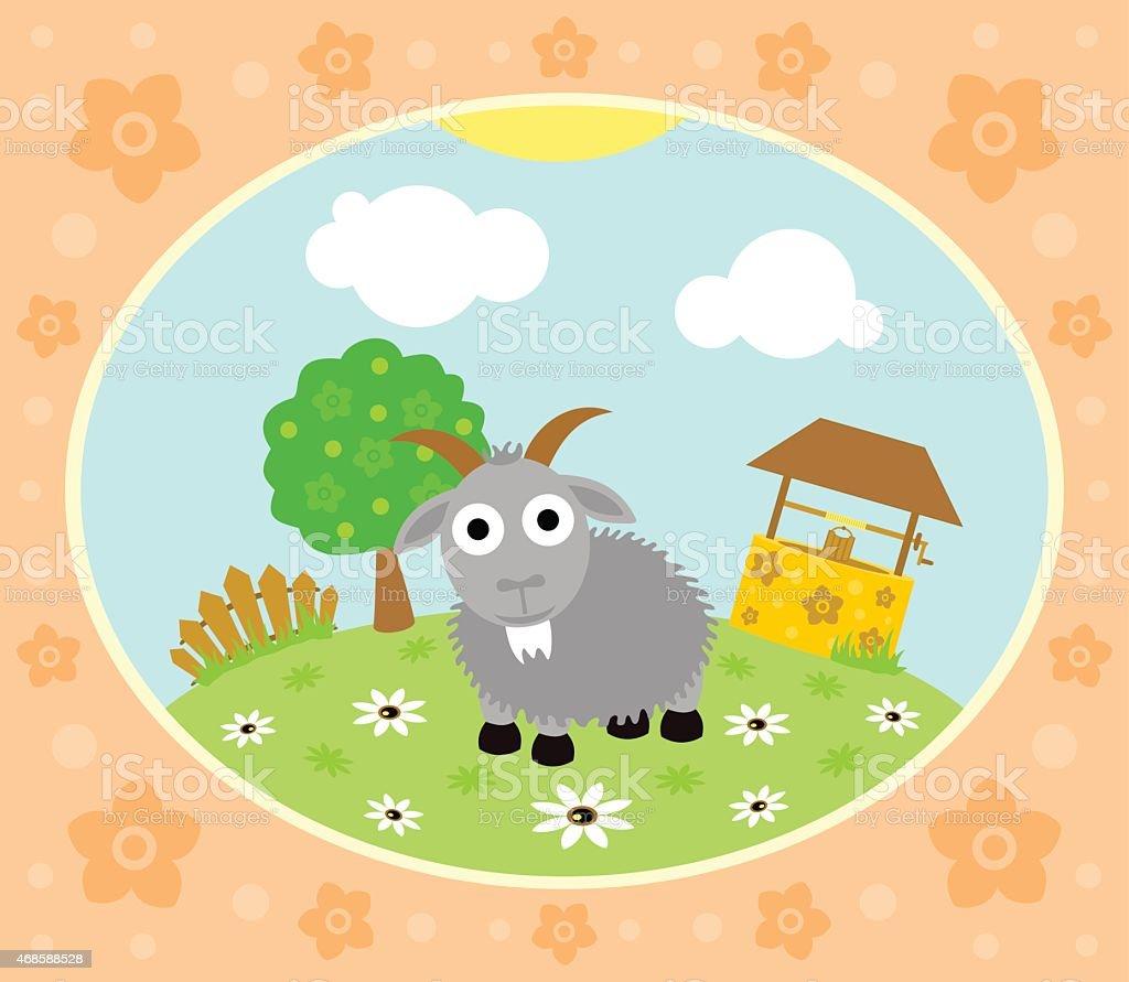 Farm background with goat vector art illustration
