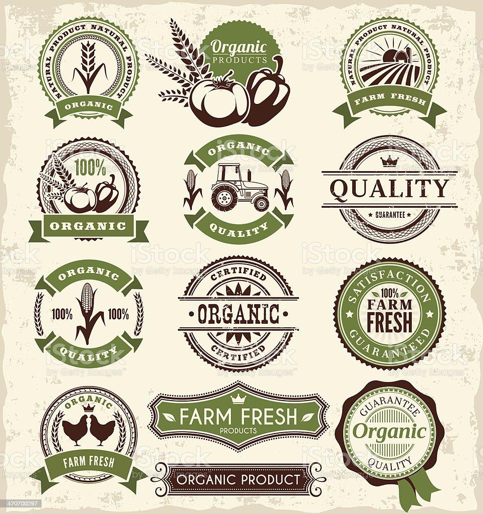 Farm Badges vector art illustration