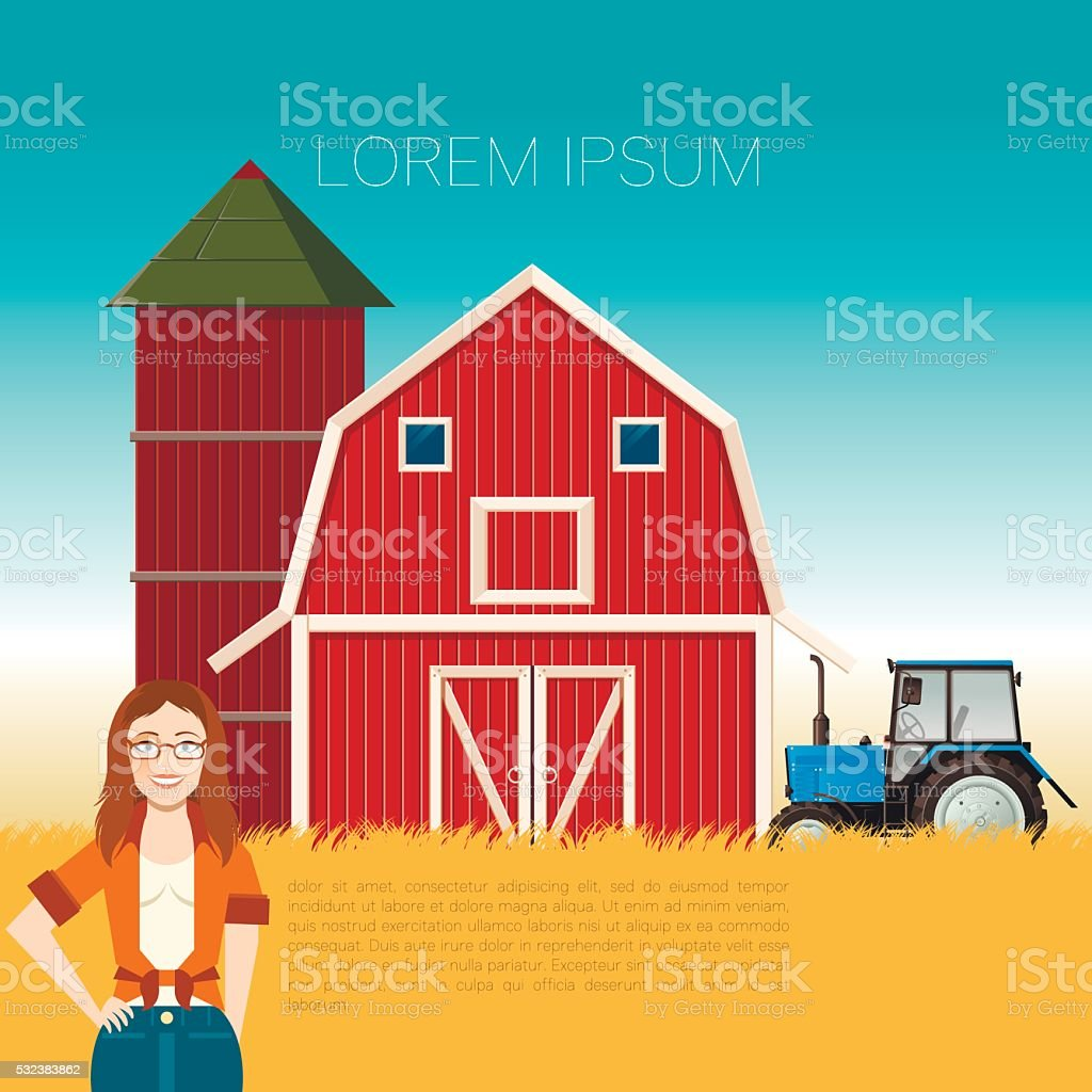 Farm banner and a woman vector art illustration