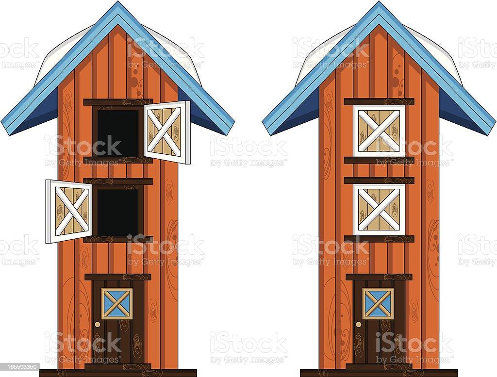 Farm Barn Building with Door Open & Closed royalty-free stock vector art