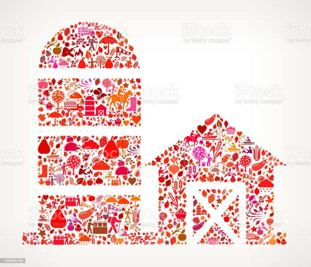 Farm Barn on Autumn Seasonal royalty free vector art Pattern vector art illustration