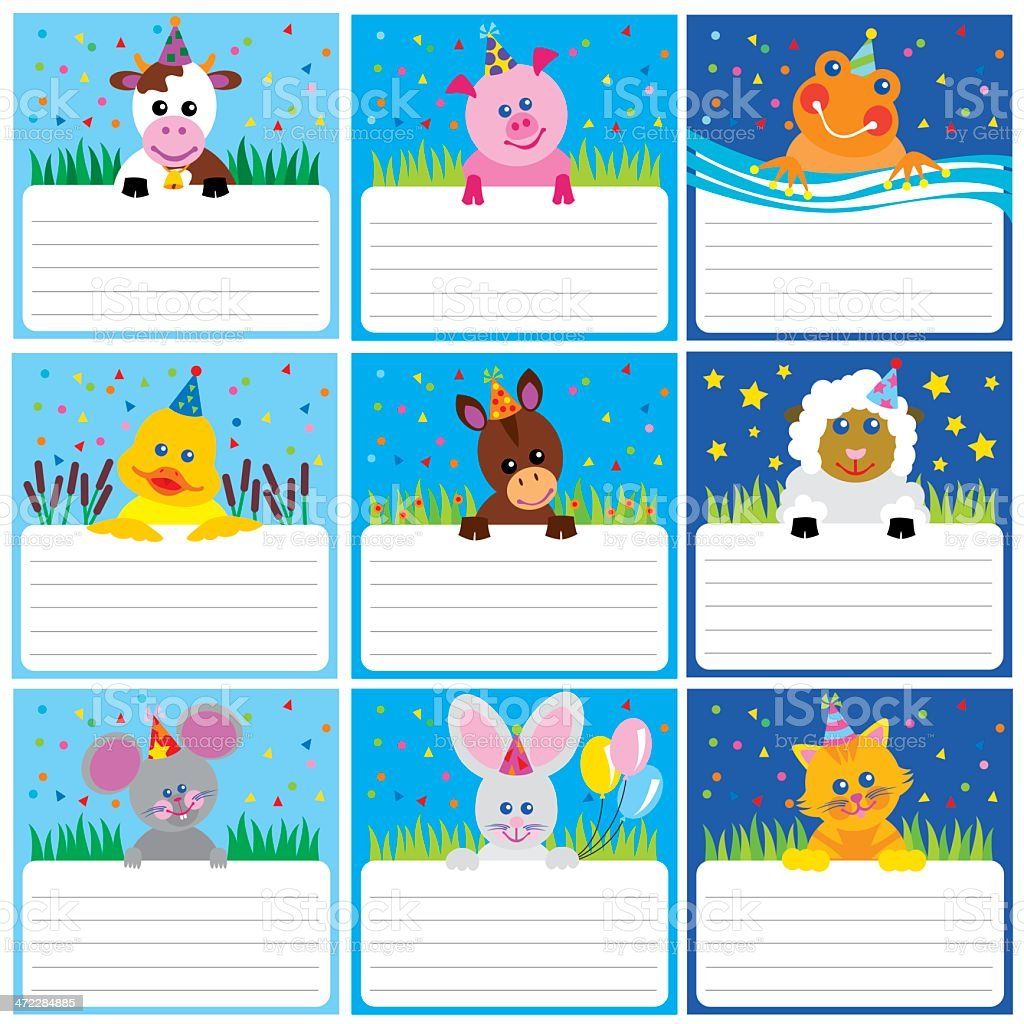 Farm birthday cards royalty-free stock vector art