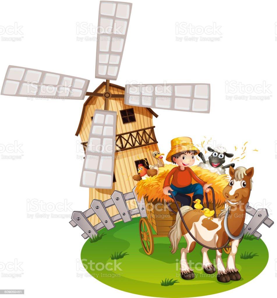 Farm boy vector art illustration