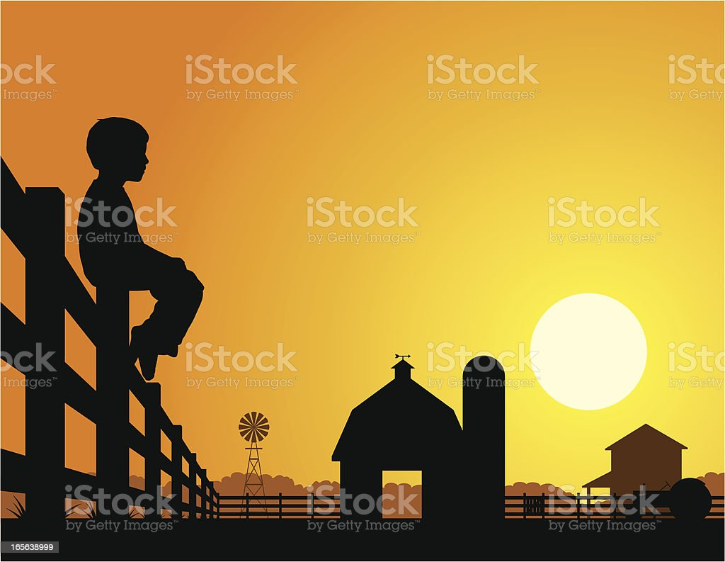 Farm boy watching a sunrise vector art illustration