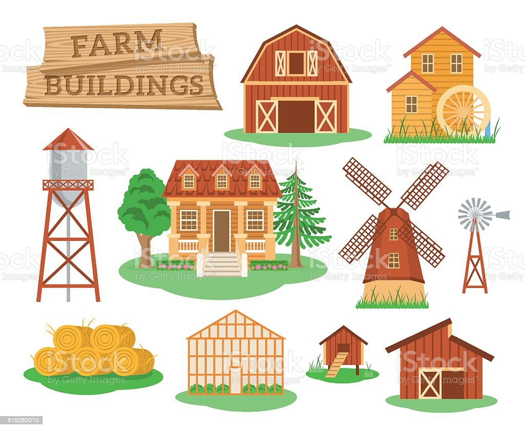 Farm buildings and constructions flat infographic elements vector art illustration