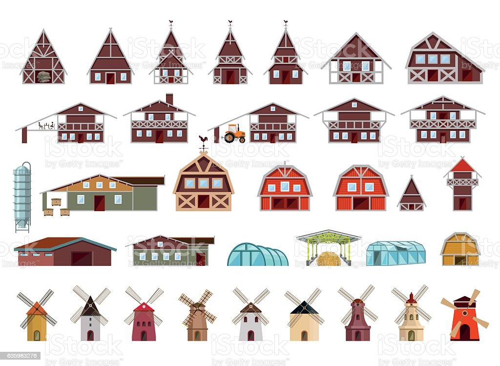 Farm buildings and constructions vector art illustration