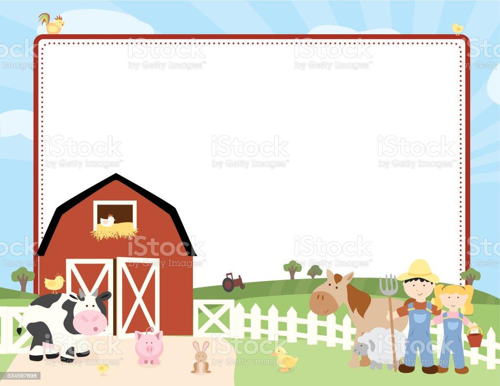 Farm Card vector art illustration