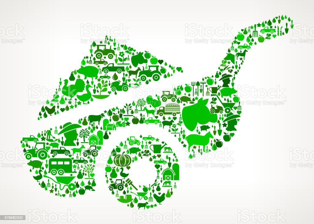 Farm Cart Farming and Agriculture Green Icon Pattern vector art illustration