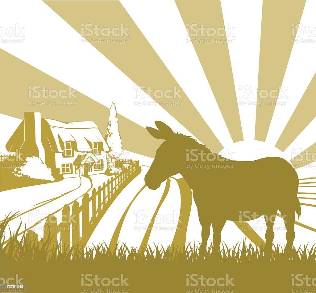 Farm donkey rolling fields vector art illustration