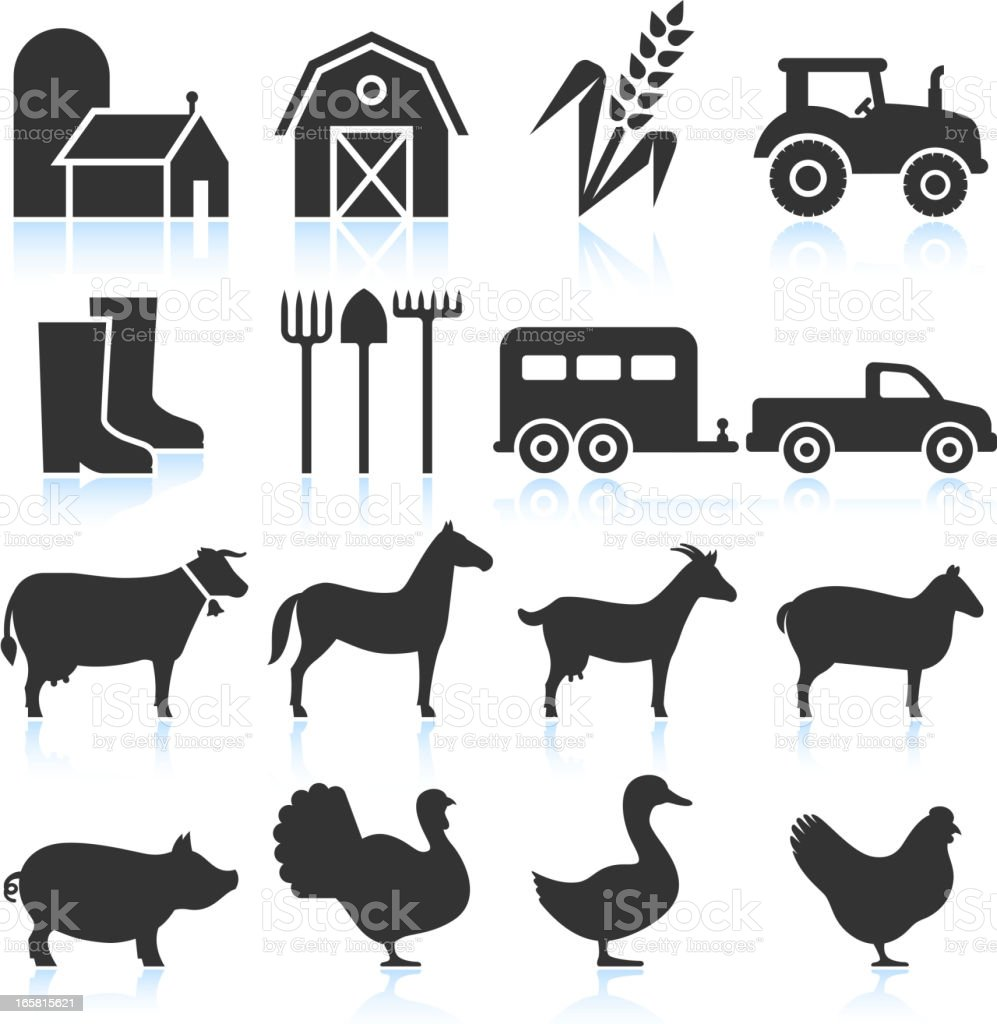 Farm Equipment and Animals black & white vector icon set vector art illustration