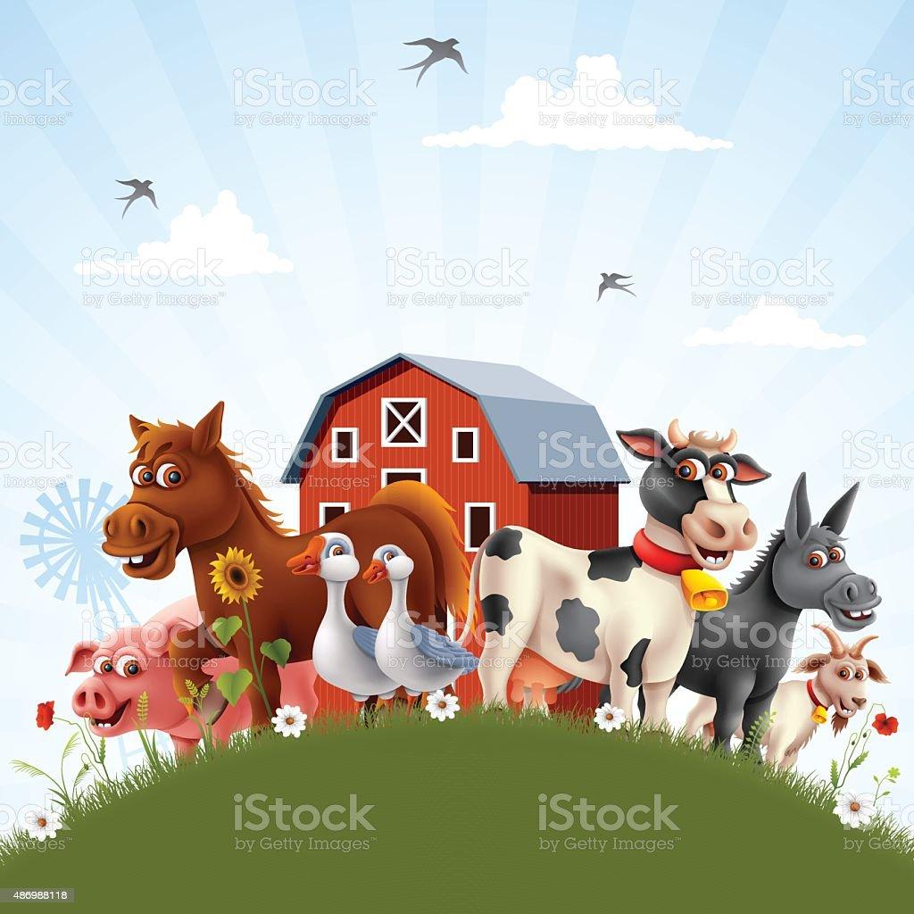 Farm Family vector art illustration
