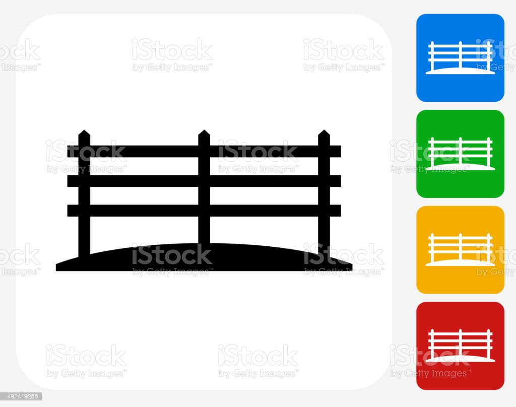 Farm Fence Icon Flat Graphic Design vector art illustration