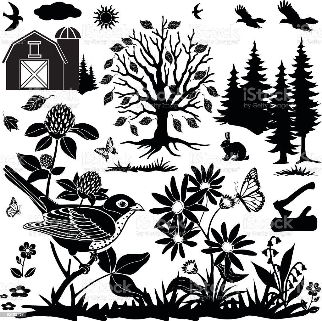 farm field design elements royalty-free stock vector art