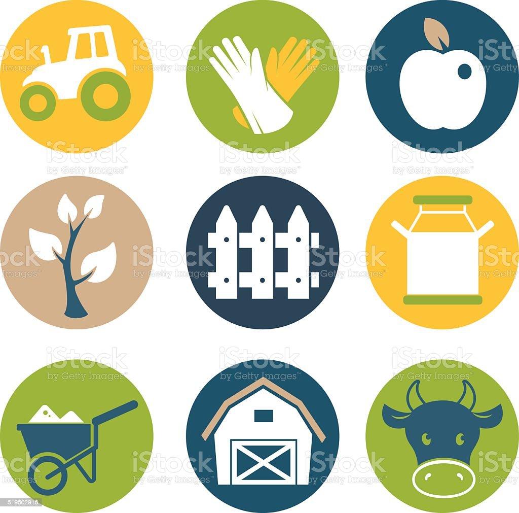 Farm flat icons set vector art illustration