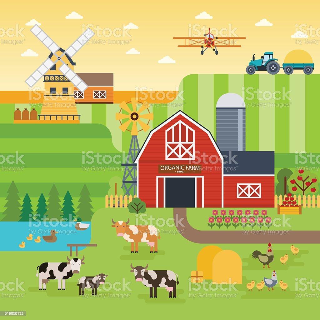 Farm flat vector landscape. Organic food concept for any design. vector art illustration