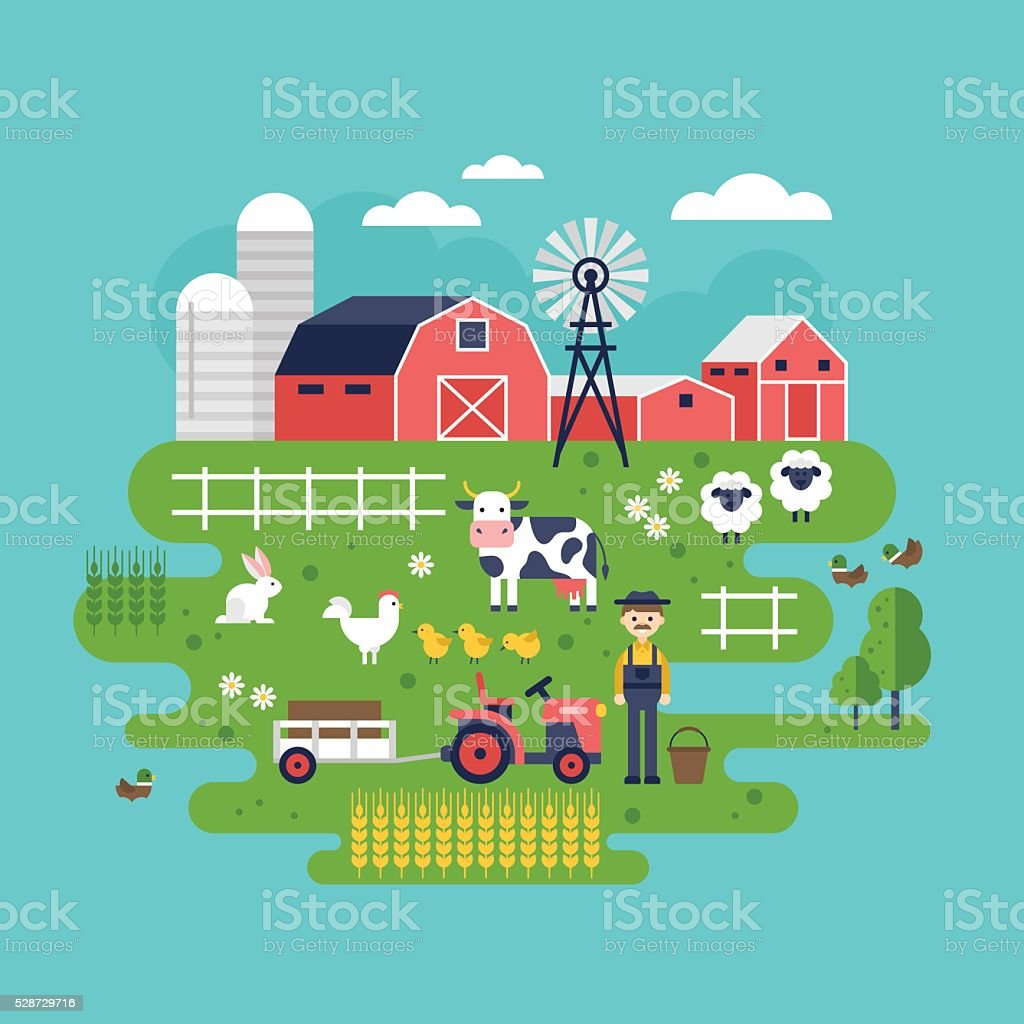 Farm food and animals icons. Healthy eating and lifestyle concept vector art illustration