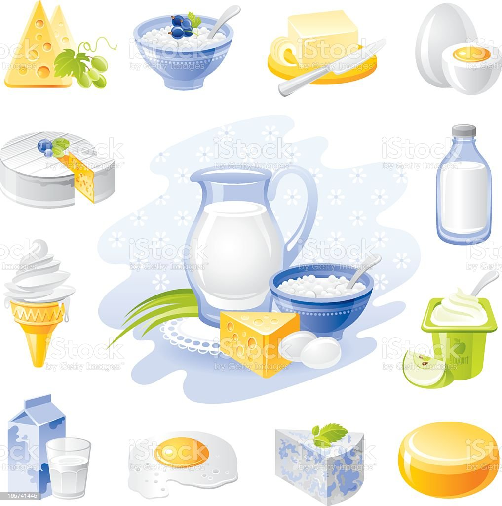 Farm food icon set: dairy and poultry products vector art illustration