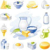 Farm food icon set: dairy and poultry products