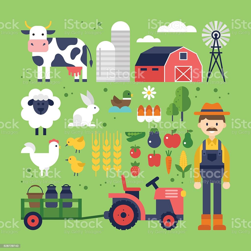 Farm food, products and animals icons. Harvest, agriculture vector art illustration