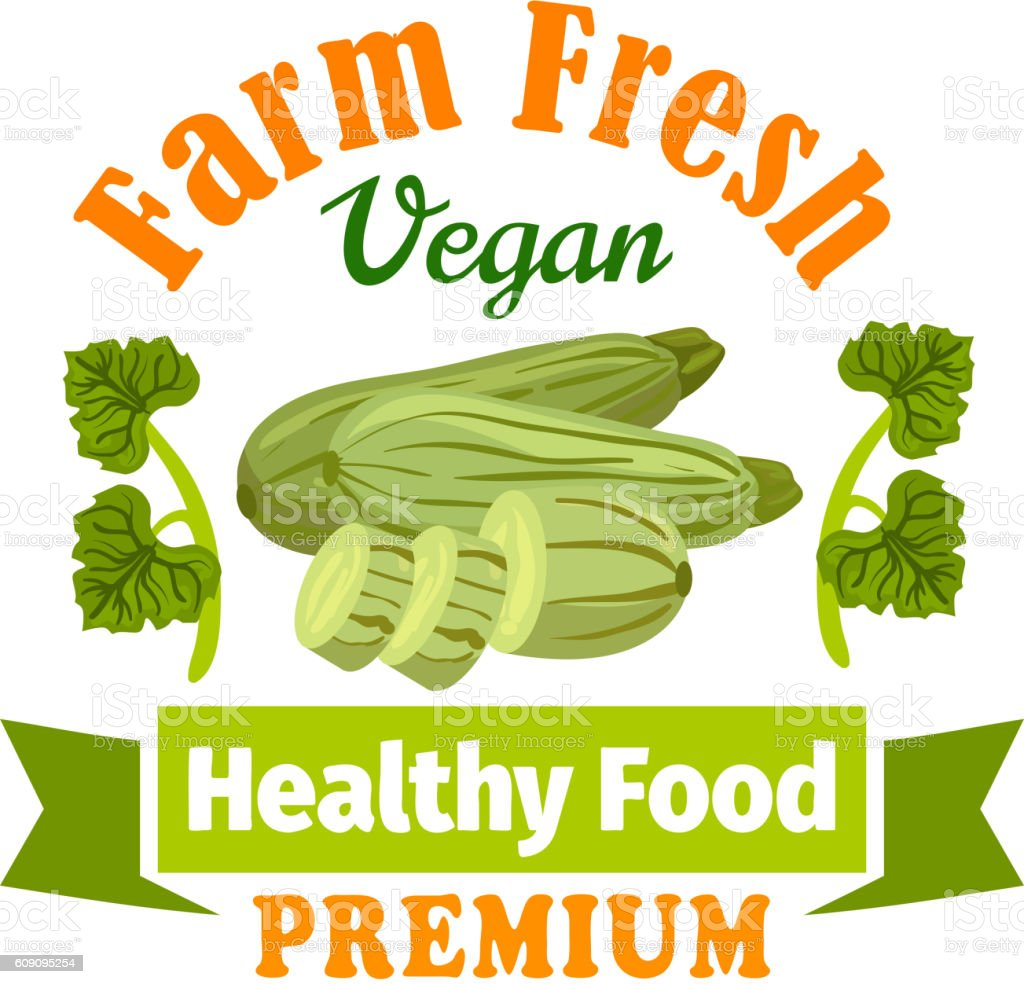 Farm fresh zucchini squash. Healthy food icon vector art illustration