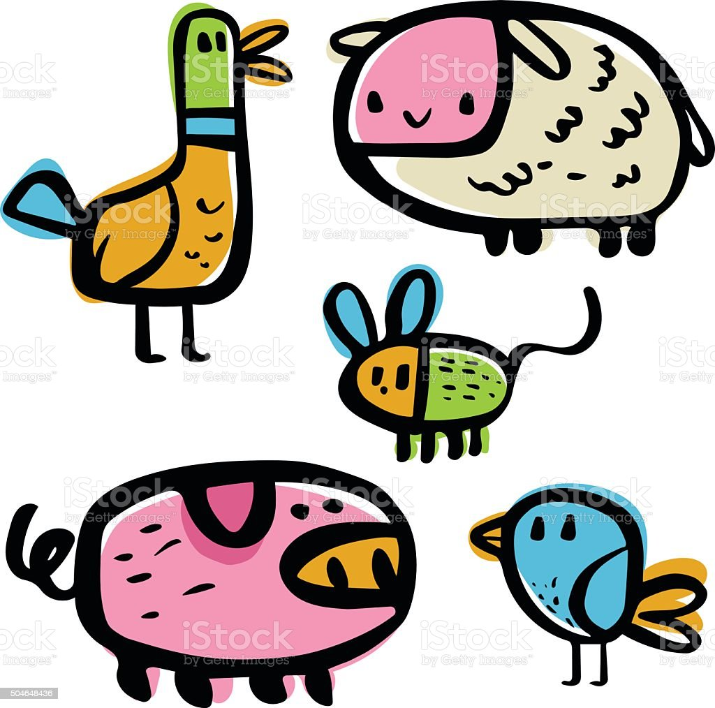 Farm Friends vector art illustration