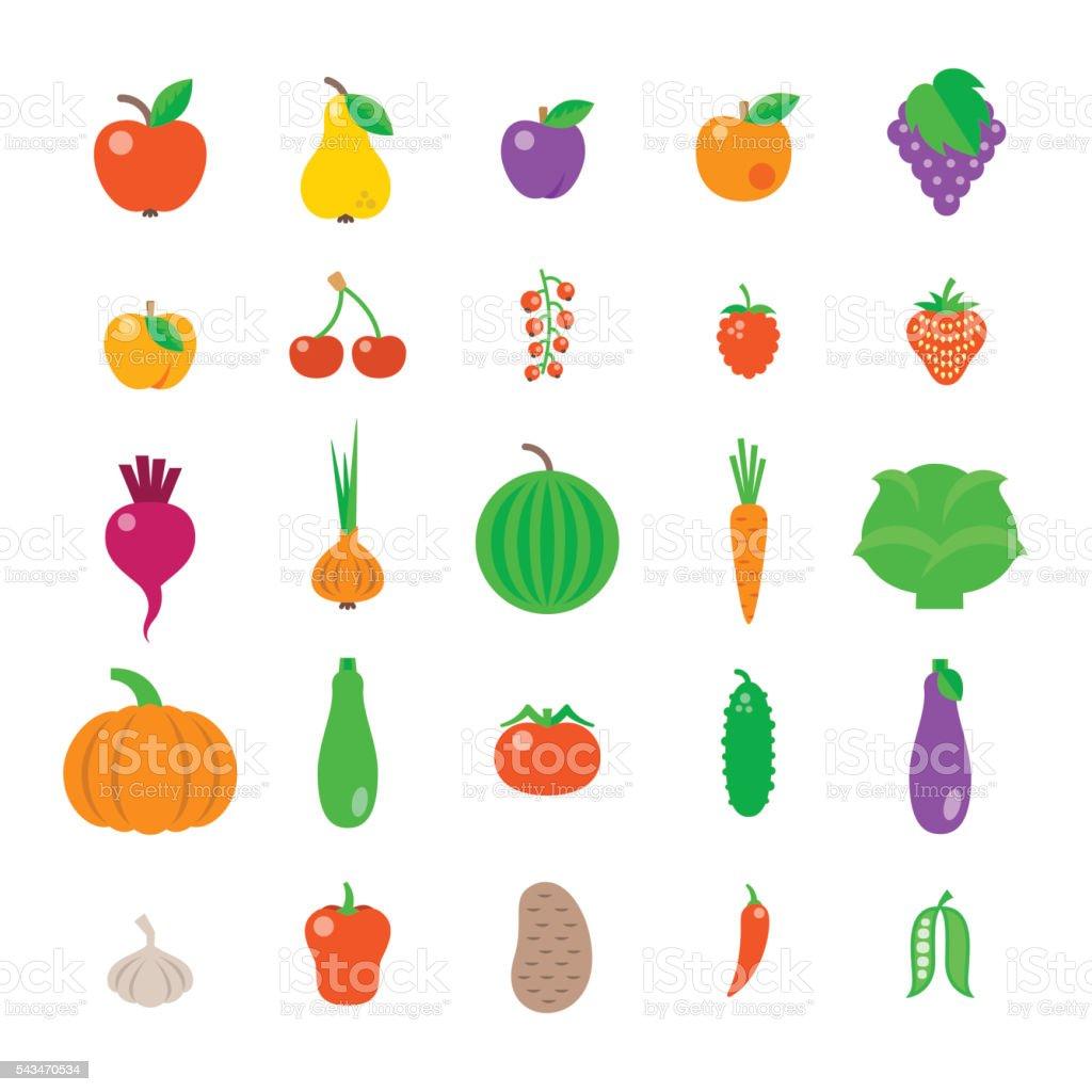 Farm fruits and vegetables flat vector icons set vector art illustration