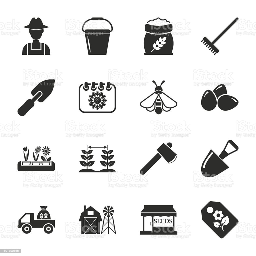 farm, gardening 16 icons universal set for web and mobile vector art illustration