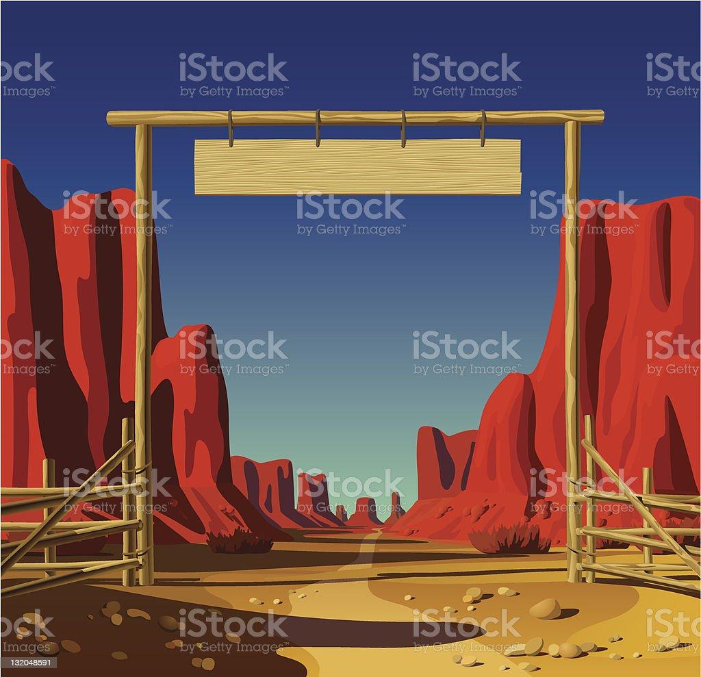 Farm gate in the Wild West vector art illustration