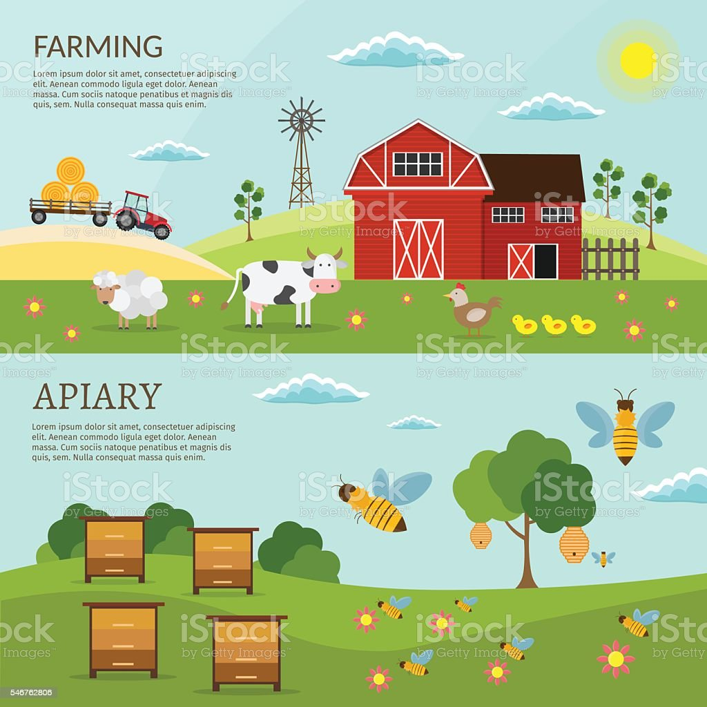 Farm green vector set vector art illustration