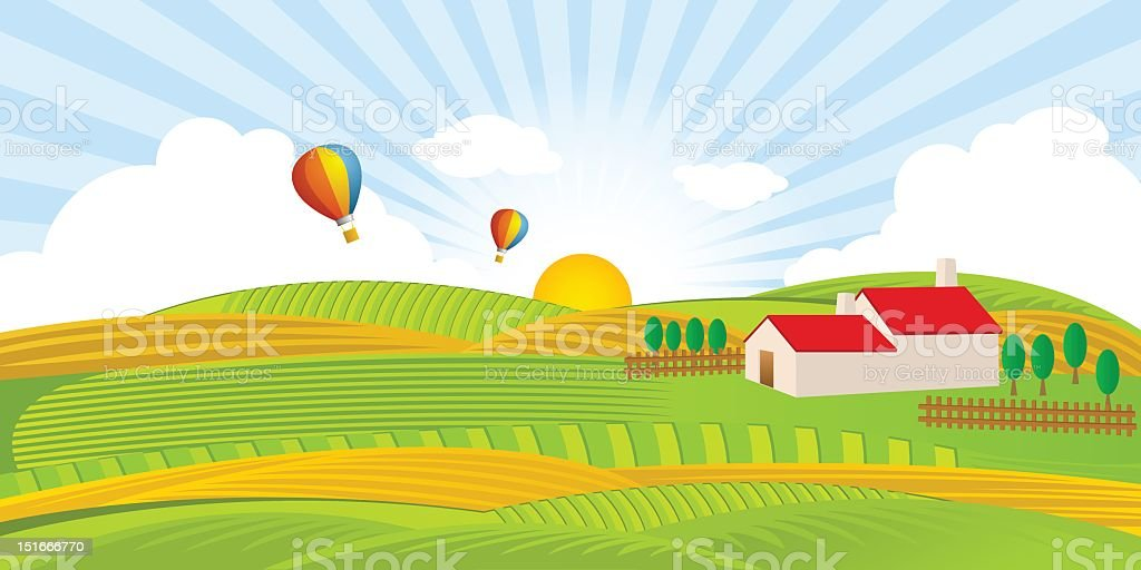 Farm House and Field with Hot Air Balloons royalty-free stock vector art