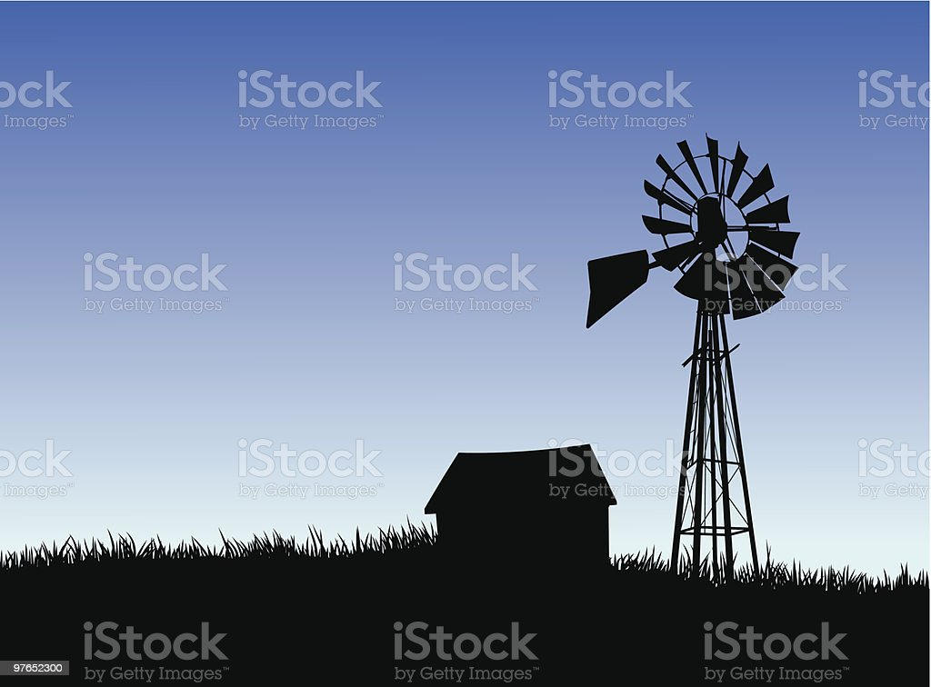 Farm house and windmill silhouette. royalty-free stock vector art