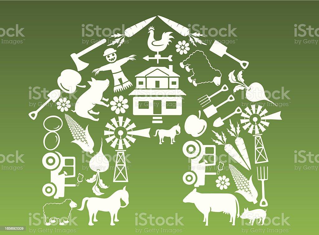 Farm house icons royalty-free stock vector art