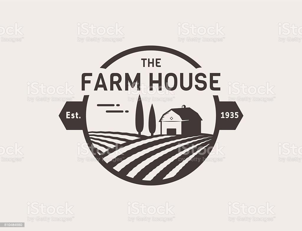 Farm House vector. vector art illustration