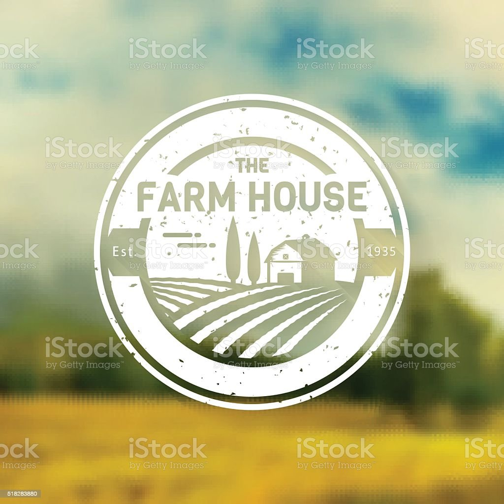Farm House vintage sign. Vector label. vector art illustration