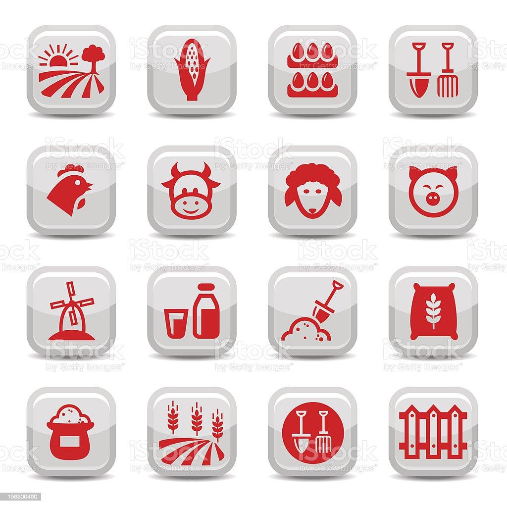 farm icon set royalty-free stock vector art