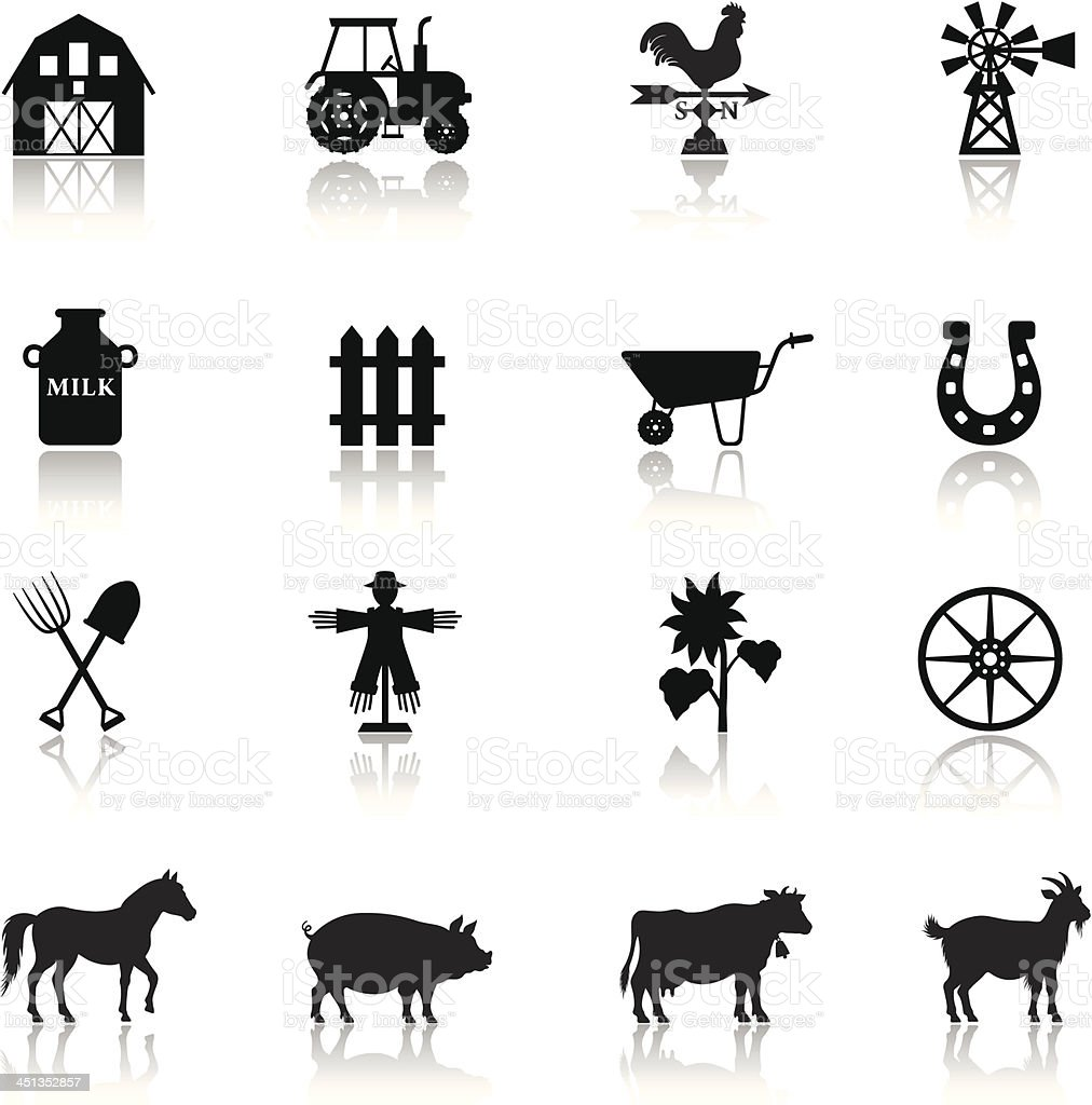 Farm Icon Set vector art illustration